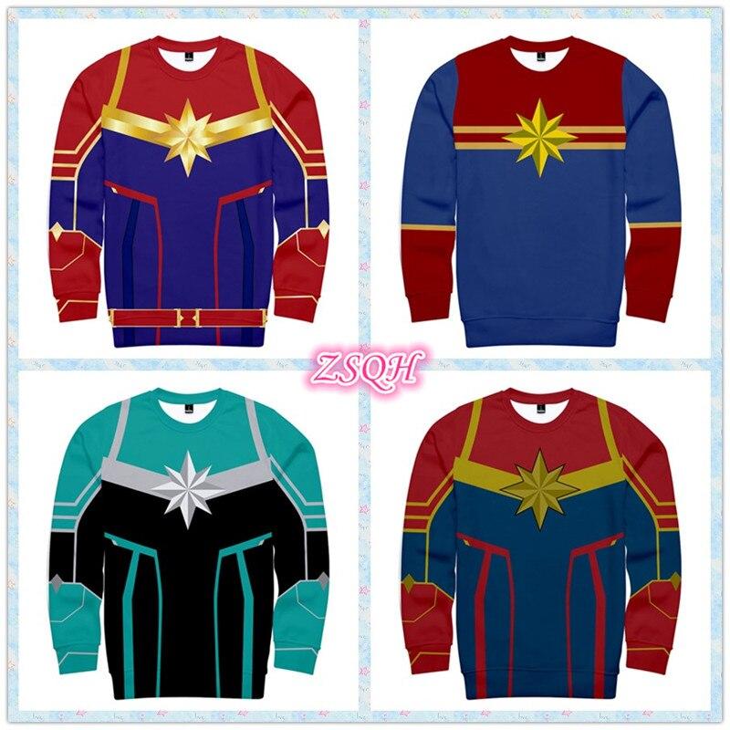 ZSQH Captain Marvel hoodies Ms Marvel Carol Danver Cosplay Costume for Women and Girls Bodysuit Halloween Sweatshirts top men