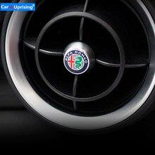 4 Uds. De pegatinas de decoración de salida de aire acondicionado trasero delantero de coche, de aleación de aluminio, para Alfa Romeo, Giulia, Stelvio