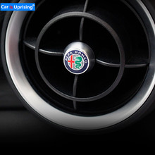4pcs NEW Aluminium Alloy Car Front Rear Air Conditioning Outlet Decoration Stickers For Alfa Romeo Giulia Stelvio Car styling