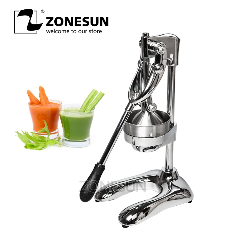 ZONESUN Stainless Steel Citrus Fruits Squeezer Orange Lemon Pomegranate Hand Press Manual Juicer Lemon Pressing Machine