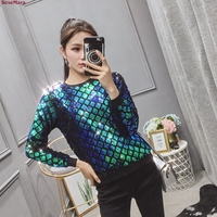 SexeMara fashion The New Loose Fish scales Sequins Round neck Long sleeve T shirt free shipping