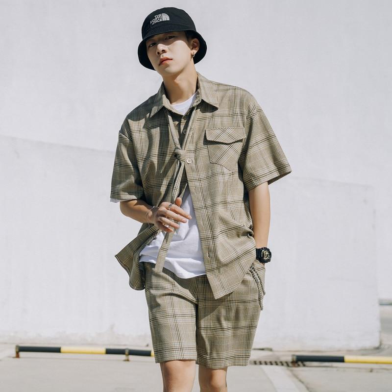 2019 Summer New Original Hip Hop Retro Plaid Japanese Sleeve Shirt Five Points Shorts Fashion Korean Casual Men's Suit M-XL