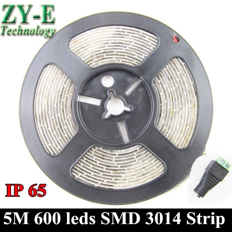 Waterproof IP 65 5M 600 LED 3014 SMD 12V 3M Fixed Brightness LED Strip,120LED/M,led Light,white/warm/blue/green/red/ Free Ship