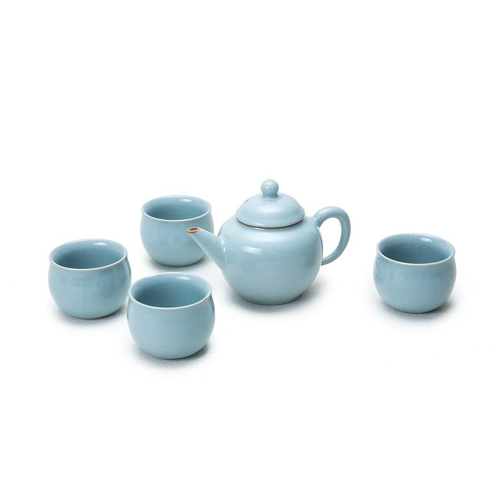 Newchinaroad цвет небесно синий шуипинг чайник керамический чайник и китайский Традиционный Чайный сервиз Кунг фу чайник и чашка в подарок