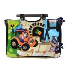 Women  Braccialini Style Famous Italy Designer  Shoulder Bag Handbag Fairy Tale Pasture Pattern Black Tote Purse Pack Bag