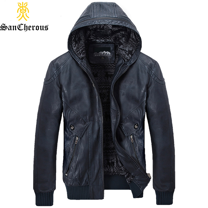 Plus Size M-4XL 2019 New Arrival Hooded Casual Men Leather Winter Jacket Men Parkas Fashion Thick Hood PU Men Jackets