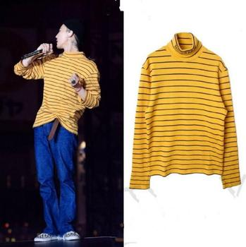 New KPOP Bigbang GD G-Dragon The Same autumn yellow stripy pullover Hoodie Unisex Sweatershirt turtleneck bts taehyung warriors