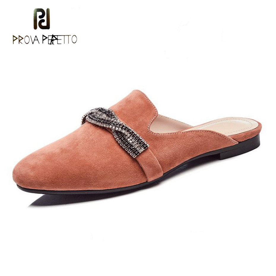 Prova Perfetto suede leather round toe open heel women slippers crystal chain decor slip on flat heel lazy women mules shoes fall winter chic women rabbit fur slippers genuine leather flat heels shoes women round toe slip on warm lazy outdoor mules