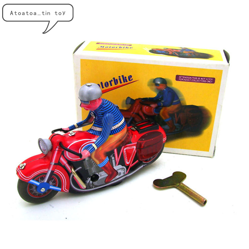 Vintage Retro Motorbike Tin Toys Classic Clockwork Wind Up Motorcycle Collection Tin Toy For Adult Kids Collectible Gift