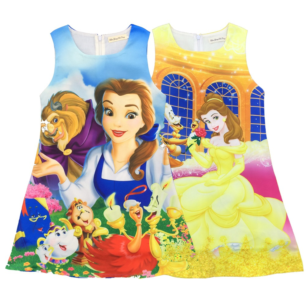 цены 2017 Baby Girl Dress Beauty and Beast Cartoon Summer Cotton Dress Costumes For Girls Party Kids Dresses Children Dress H710