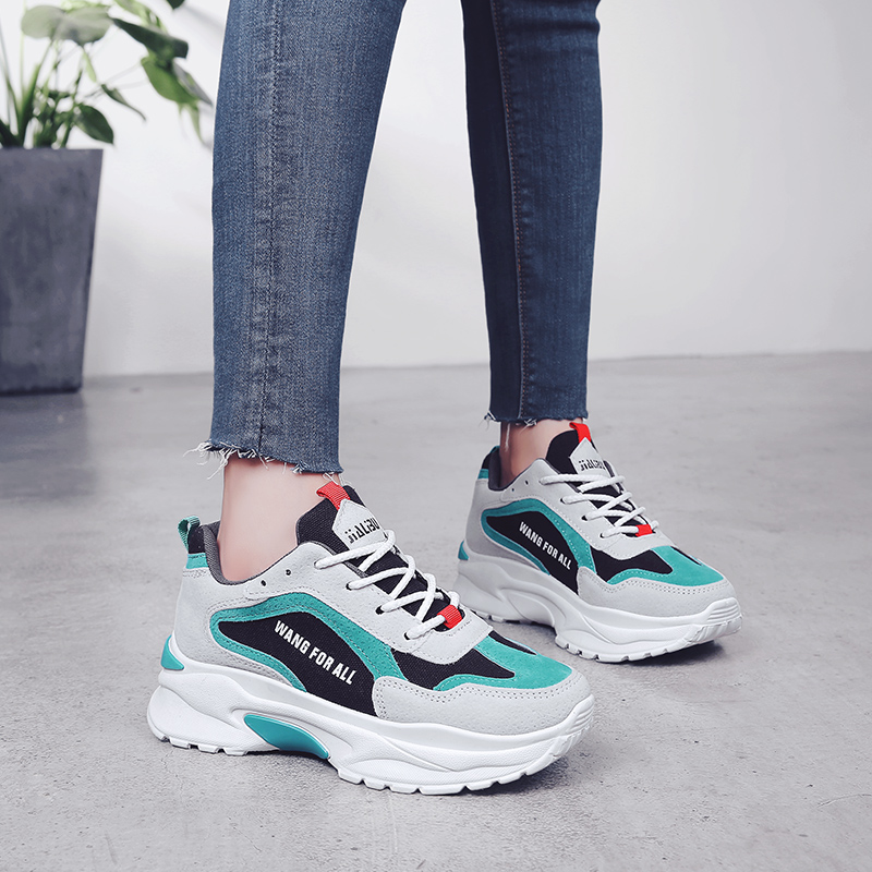 41bd75092a9 Womens Casual Shoes  Sneaker Dad Shoes Lace-Up Brand Designer Women Flats  Shoes White Platform Sneakers Women Chunky Sneakers