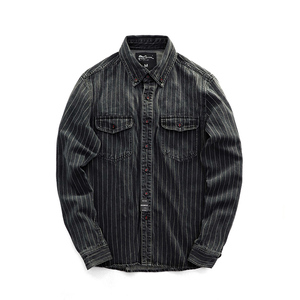 Image 4 - Men Spring And Autumn Fashion Brand Vintage Japan Style Sand Washing Stripe Long Sleeve Denim Shirt Male Casual Thick Dyed Shirt