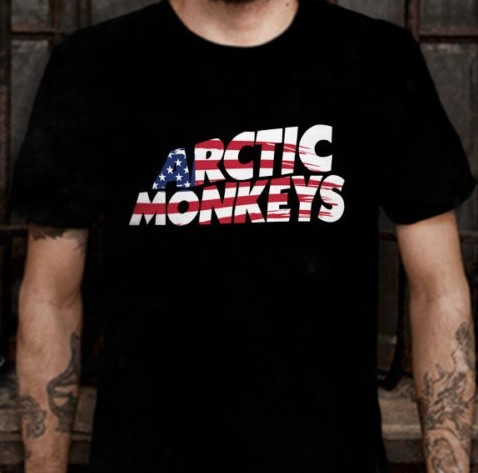6571b699 NEW Arctic Monkeys USA World Tour T-shirt Tee Indie Rock Alternative Rock n  Roll Music Men's T shirt American Flag Cotton