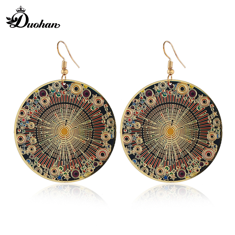 Round Sun Spot Dangle Earrings Computer Earrings
