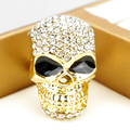 2016 Gold Pated Fashion Jewelry Big Skull Crystal Ring For Men Cool Women Girls Boy Head Ring Punk Style Party A054A