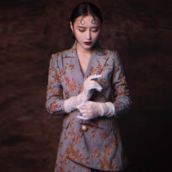 Европейский стиль модный бренд хорошее качество вышивки клетчатый Блейзер Женский Новинка осени неровный жемчуг пальто Верхняя одежда