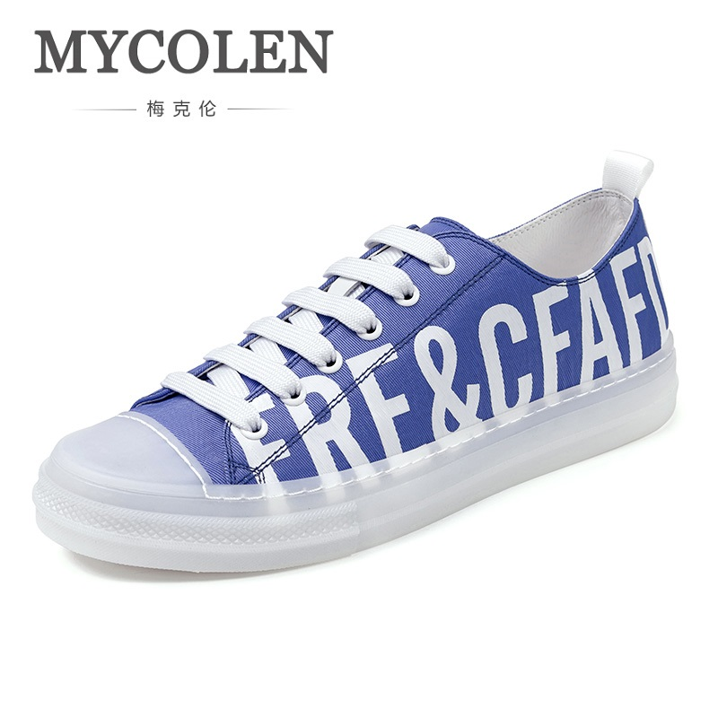 MYCOLEN 2018 New Fashion Canvas Shoes Men's Low Sneakers Casual Shoes Breathable Lace Up Low Help Shoes Sapato Social Masculino цена в Москве и Питере