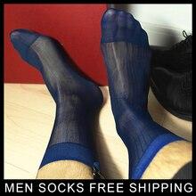 High quality Men Sheer Silk Black socks Transparent Sexy Dress suit Formal see through Drop shipping
