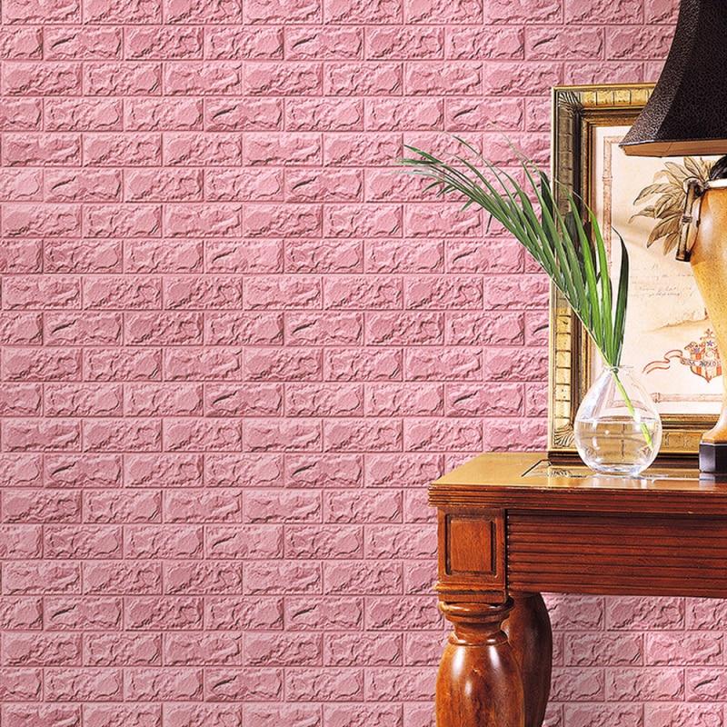 Oujing Big Foam 3D Wallpaper Embossed Brick Stone Wall Stickers Roll ...