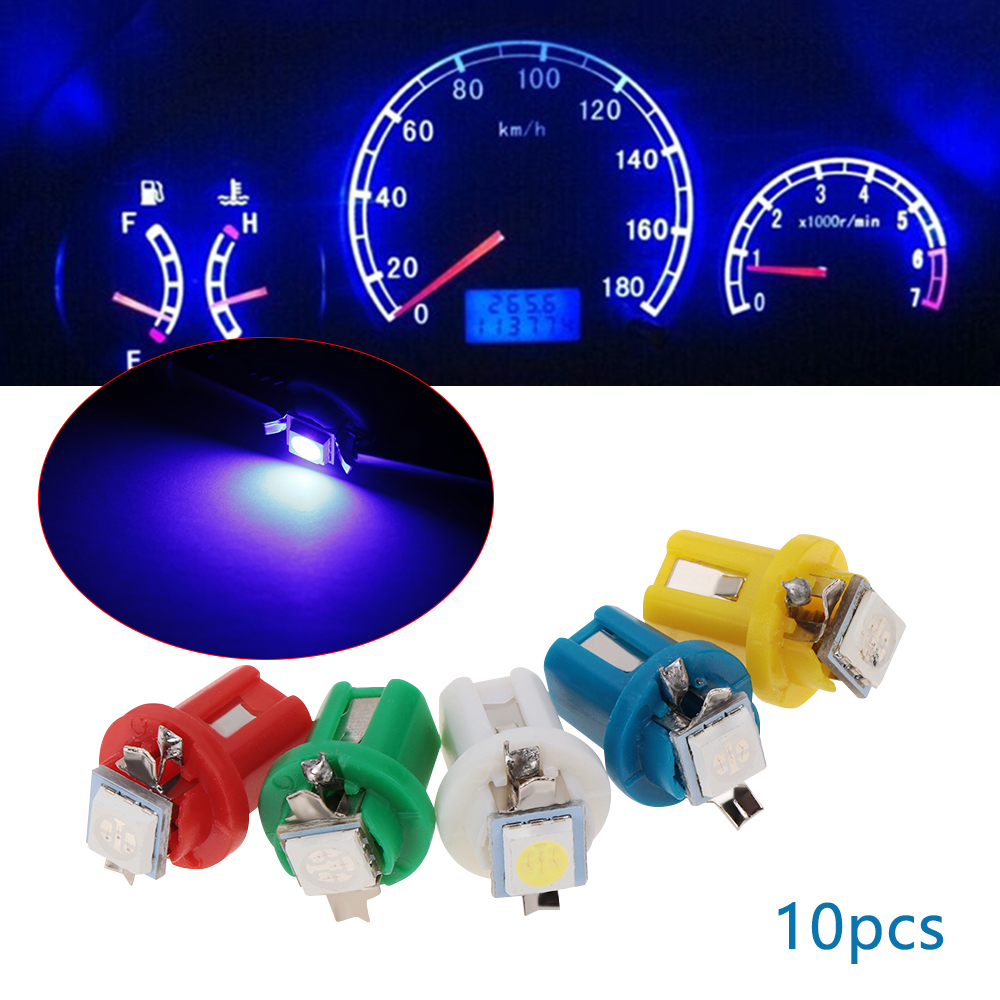 10X T5 B8.5D Gauge 5050 2 SMD Green LED Speedo Dashboard Dash Light Bulb 12V