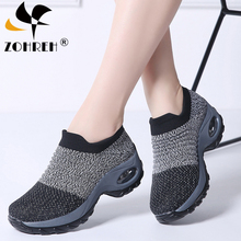 2019 Spring Women Flats Sneakers Shoes Platform For Creepers Mesh Sock Tennis Outdoor Walking Shoe Plus Size