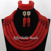 African Crystal Bead Set New Nigerian Beaded Jewelry Fashion Design Wholesale NCD169