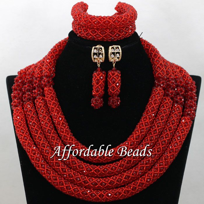 African Crystal Bead Set New Nigerian Beaded Jewelry Fashion Design Wholesale NCD169African Crystal Bead Set New Nigerian Beaded Jewelry Fashion Design Wholesale NCD169