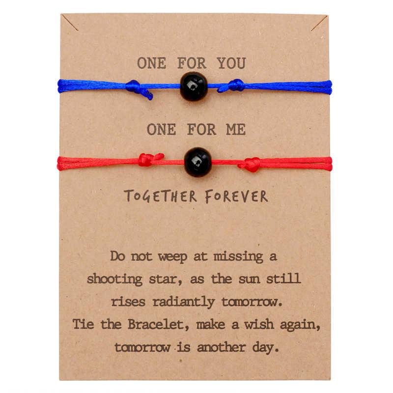 ZOSHI czeski matowy lawa kamień pary bransoletki zestaw dla kobiet mężczyźni kontrast bransoletka najlepszy przyjaciel życzenie biżuteria 2 sztuk/zestaw