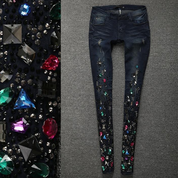 Grande taille 25-31 2018 automne diamant jeans femmes perles diamant trou cheville longueur skinny crayon jeans