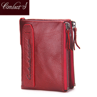 2018 Fashion Genuine Leather Women Wallet Bi fold Wallets ID Card Holder Coin Purse With Double Zipper Small Women's Purse