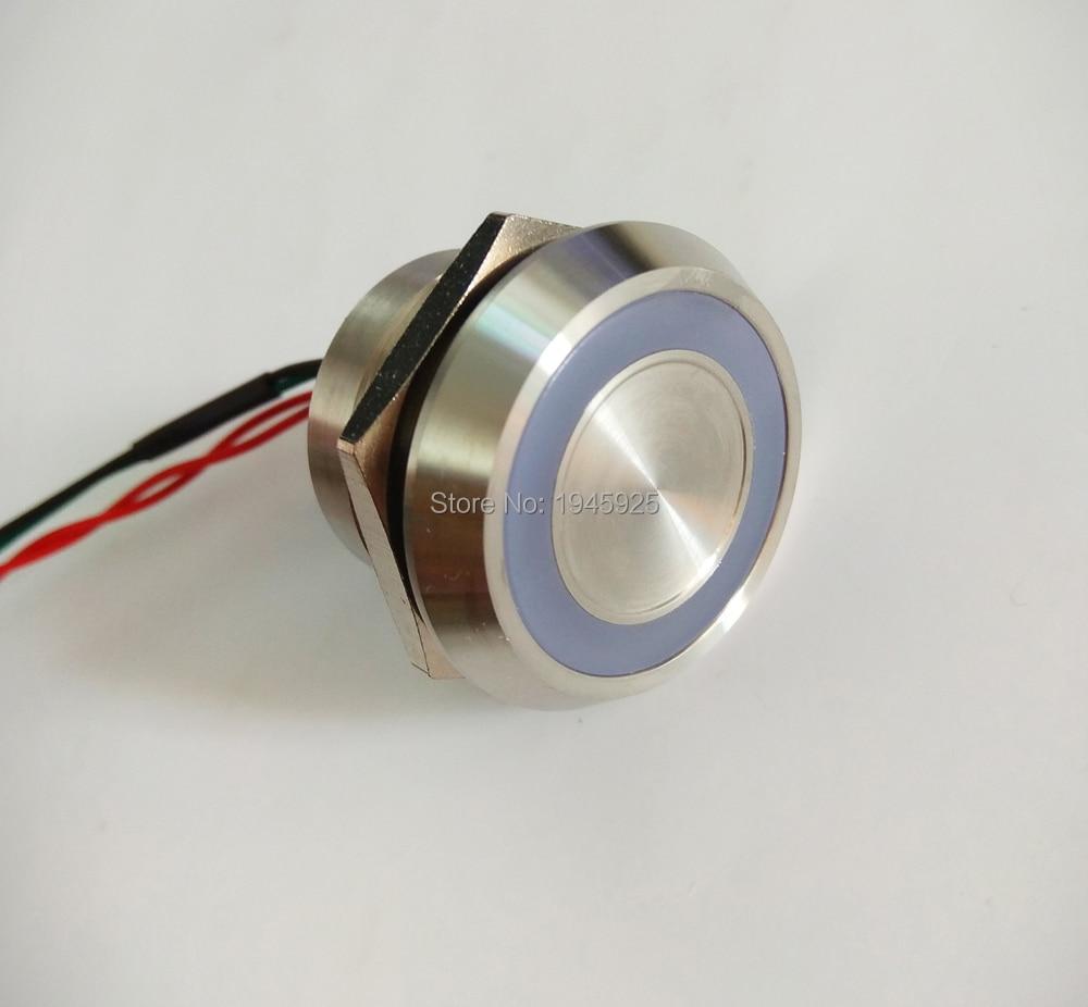 25mm IP 68 waterproof 24V Green ring illumination momentary touch sensor piezo switch