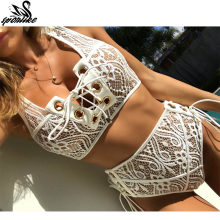 Sporlike Blcak White Lace High Waist Swimsuit Bikini Set 2017 Sexy Solid Bikinis Women Push Up Swimwear Banting Suit Swim(China)