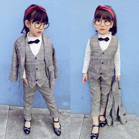 Kids Tuxedo Suit British style Boys Girl Plaid Wedding Suit Blazer Set for boys Jacket + Vest + Pants 3Pcs Gentleman Formal Suit