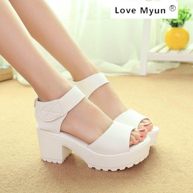 Fashion Sandals Women Summer shoes 2017 wedges Open Toe Thick Heel Mujer Soft PU Women Platform Sandals high-heeled Shoes 058