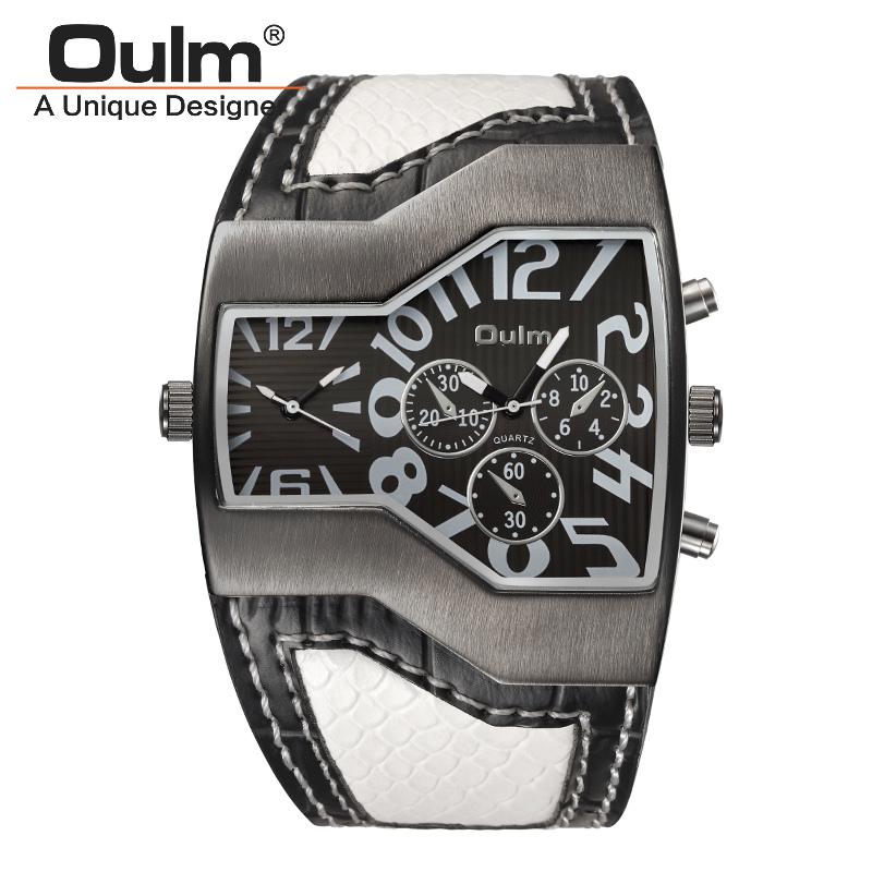 Oulm 1220 Watches Men Sport Casual PU Leather Wristwatch Convex Face Wide Strap Decorative Small Dials Luxury Male Quartz Watch mens watches oulm brand luxury military quartz watch unique 3 small dials leather