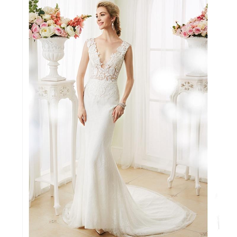 LAN TING BRIDE Mermaid Trumpet Wedding Dress V Neck