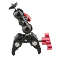 CAMVATE Crab Clamp Bracket with 1/4 Screw Double Ball Head Mount (Red T handle) C1701