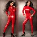 Envío Gratis Sexy Reina de Látex Rojo de Imitación de Cuero de LA PU Traje Zentai Catsuit Fetish Lingerie Stretch Señora Burlesque Ropa de Baile de Poste