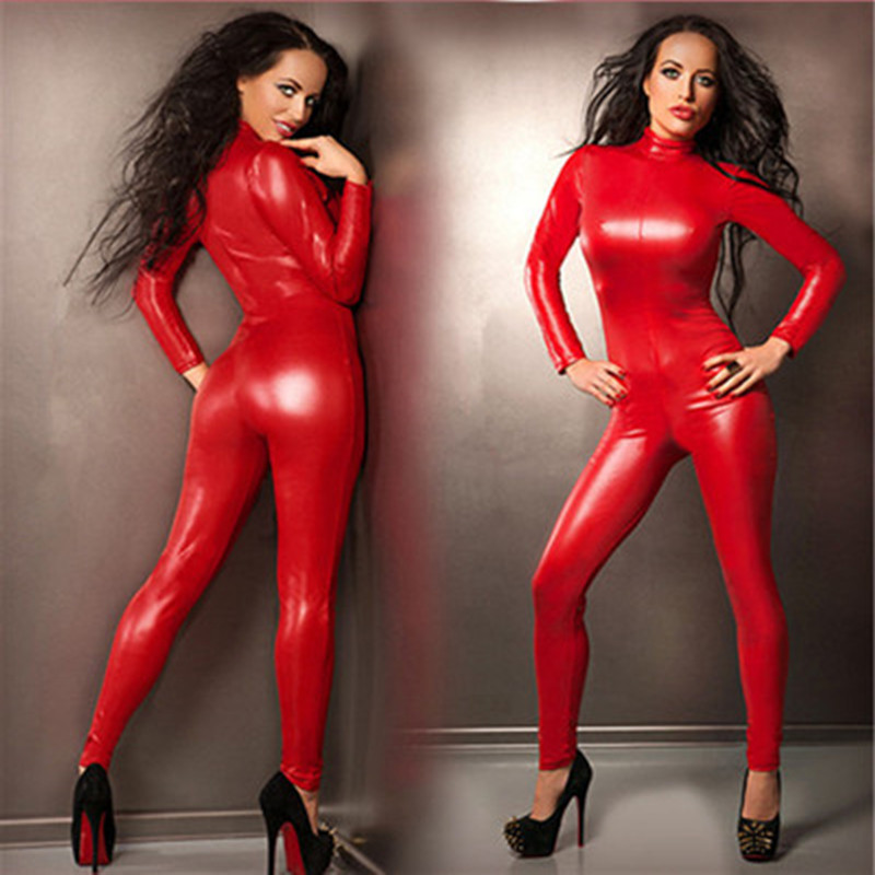 Top Sexy Lingerie Red Faux Leather Latex PU Gothic Lingerie Stretch Fetish Catsuit rubber bodysuit adult female tights jumpsuit(China)