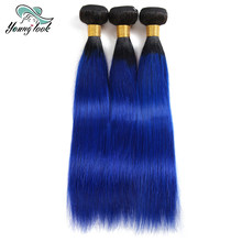 "Young Look Human Ombre hair 3 bundles 2 Tone 1B/Blue Malaysian Straight Hair Weave Bundles Hair Extensions 10""-26"" Full End(China)"