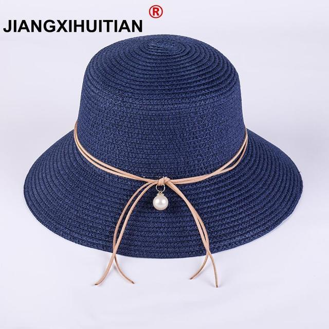 48d619b5 2018 High Quality Summer Sun Hats for Women Solid Large Brimmed Sun Hats  Black White Floppy Hats with Pearls Ladies Beach Hat