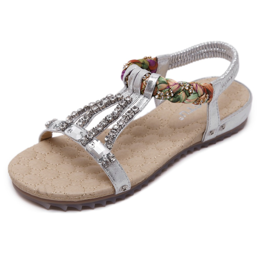 Bohemian Women's Sandals Gemstone Slippers Summer Women Beach Sandals Ladies Flat Sandals Shoes Women Zapatos Mujer 3