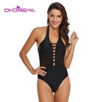 OHDREAM Padding One Piece Beachwear Cut Out Halter Swimwear Sexy Bathing Suit Solid Swimsuit Black Beachwear