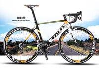 Оригинальный X Front бренд полный углеродного волокна дорожный мотоцикл 18 20 22 скорость 700cc * 23C Racing Bicicleta Light черный желтый велосипед