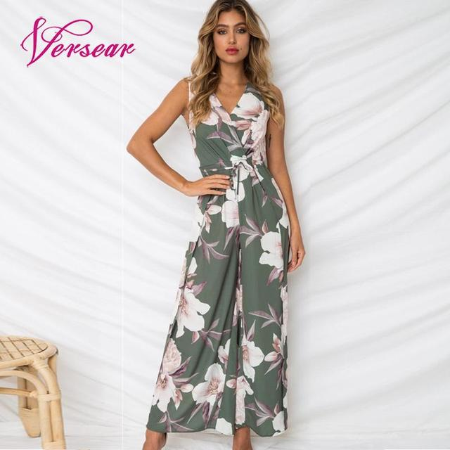 eb1c4a2d1e16 Versear Boho High Waist Split Women Summer Floral Jumpsuit Deep V Neck  Sleeveless Bandage Backless Wide