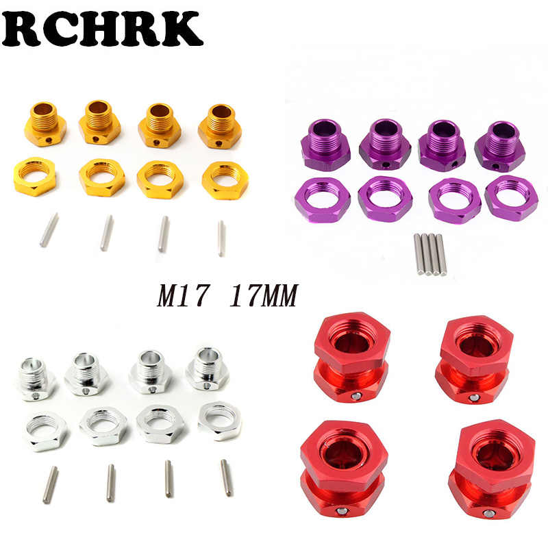 M17 17mm Aluminium Wiel Hex Hubs Adapter Moer Pin Anti-Stofkap Voor 1/8 RC Model Auto HPI HSP Traxxas Losi Axiale Kyosho Tamiya