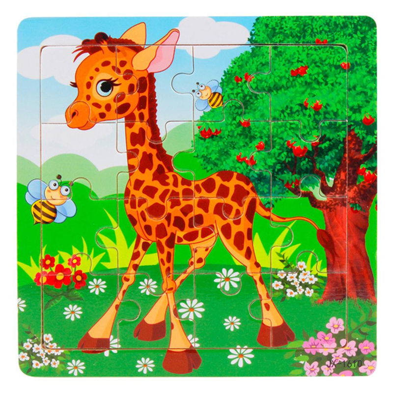 High Quality Imagination Traning Wooden Kids 16 Piece Jigsaw Toys For Children Education And Learning Puzzles Toys Drop Shipping