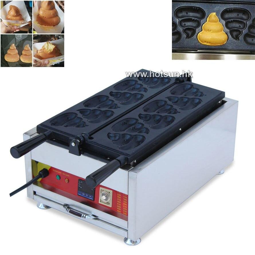 Free Shipping Commercial Electric 6 Pcs Taiyaki Korean Poop Bread Waffle Maker Iron Machine free shipping commercial electric taiyaki korean poop bread waffle maker iron machine