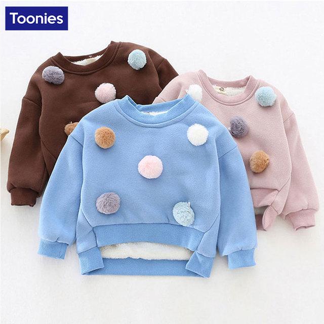 Camisetas de abrigo para Niñas Jersey Sudadera de Los Niños Bola de Pelo de Corte Svitshoty Delantero Corto Ropa de Bebé de Manga Larga para Niñas