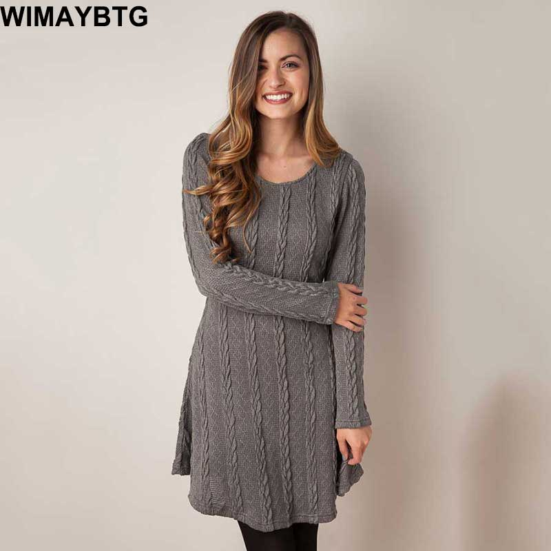 Women 2017 New Autumn Winter 8 Colors Long Sleeve O-Neck Knitted Dress Female Loose Casual Warm Solid Bottom Sweater Dresses
